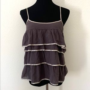 Eliot Gray and Metallic Gold Tiered Tank Top
